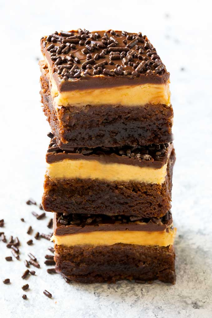 Layered peanut butter brownies are an easy yet elegant dessert.