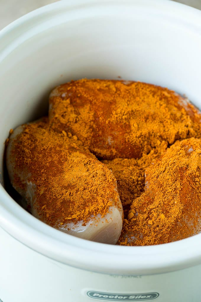 Chicken breasts coated in taco seasoning.