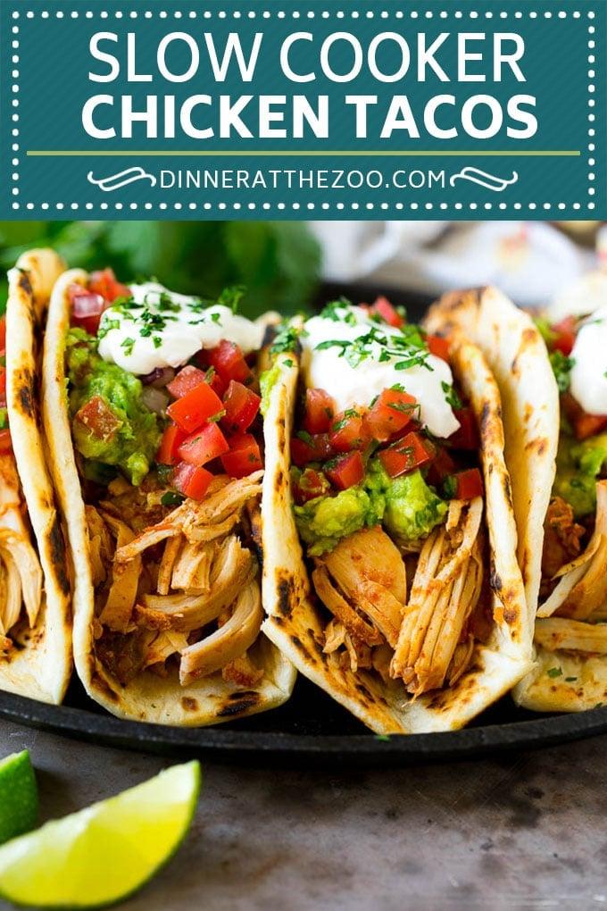 Slow Cooker Chicken Tacos Recipe | Crock Pot Chicken Tacos #tacos #chicken #slowcooker #crockpot #tacotuesday #dinner #dinneratthezoo