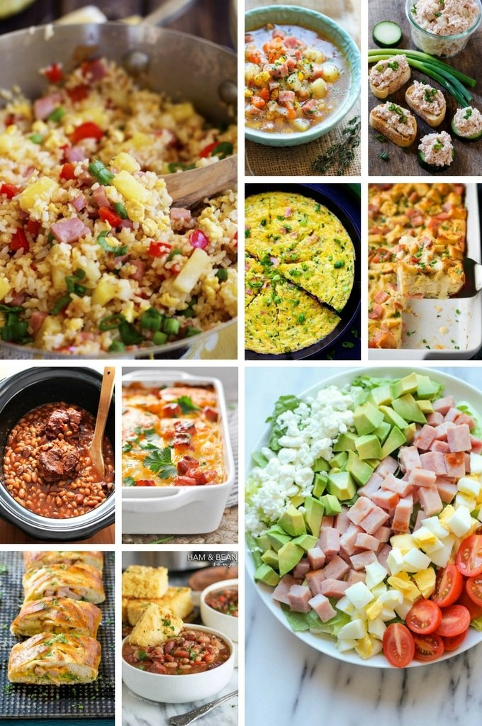 Leftover Ham Recipes including fried rice, potato dishes, soups and salad.