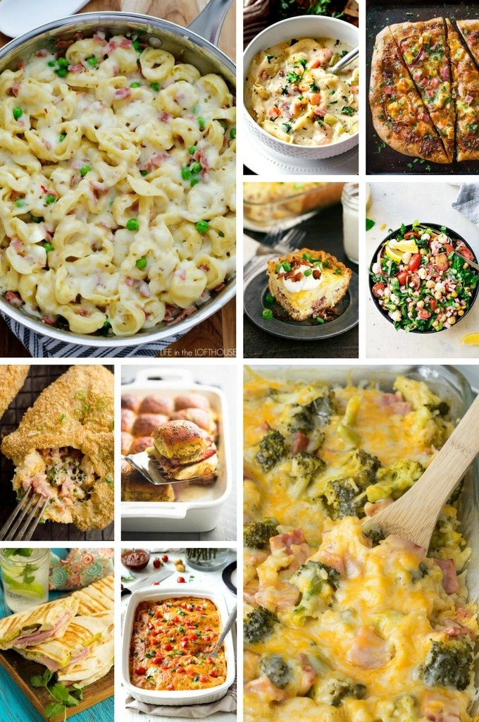 Leftover Ham Recipes with pizza, sliders, enchiladas and casseroles.