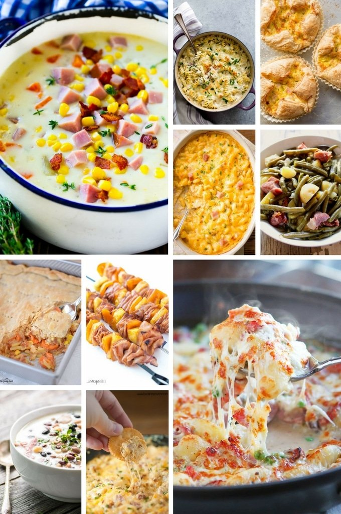 Leftover Ham Recipes such as pasta dishes, dips, pot pie and gnocchi.