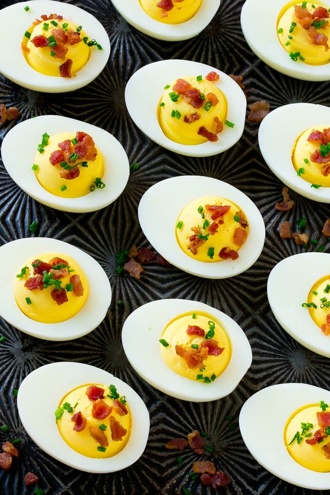 Deviled eggs with bacon bits are a fun twist on the classic recipe.