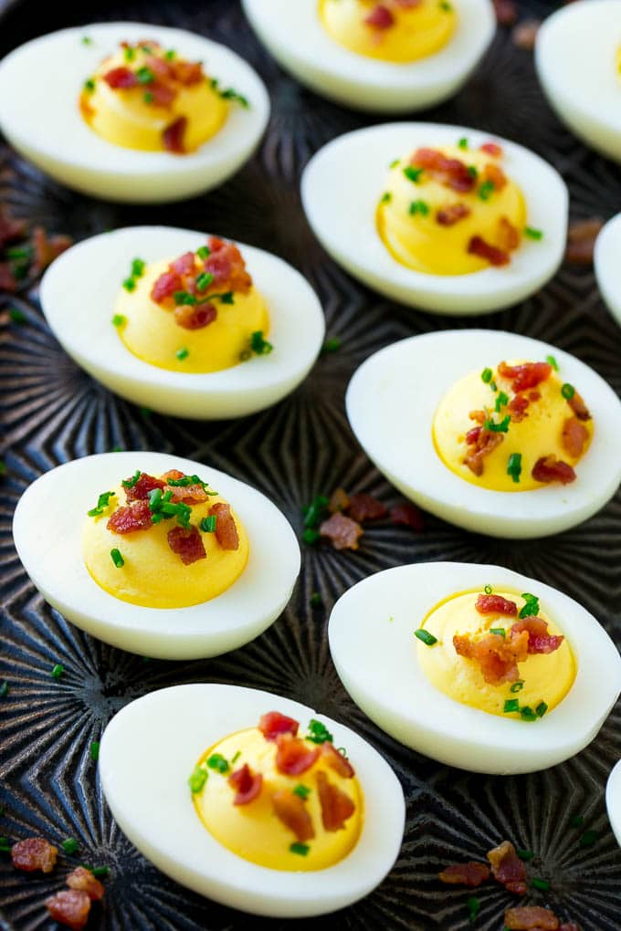 Creamy deviled eggs with bacon are a simple yet satisfying party snack.