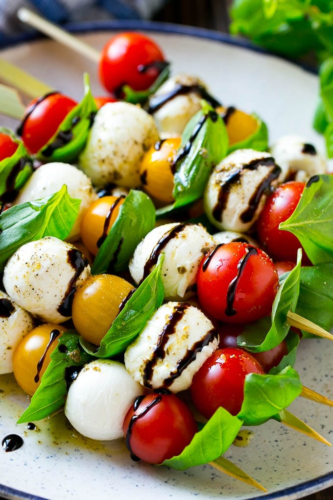 Caprese Kabobs are the perfect easy make ahead party snack.