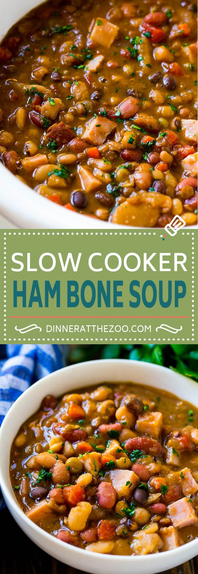Slow Cooker Ham Bone Soup | Ham and Bean Soup | Ham Bone and Bean Soup | Ham Soup | Leftover Ham Recipe #ham #hamsoup #leftoverham #soup #slowcooker #crockpot #dinneratthezoo