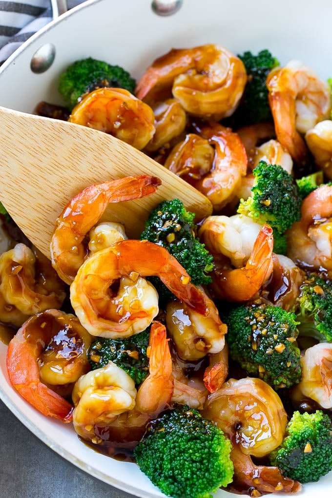 This shrimp and broccoli stir fry is coated in a sweet and savory sauce.