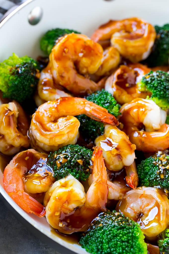 Easy shrimp stir fry is ready in 20 minutes and the sauce has just 4 ingredients.