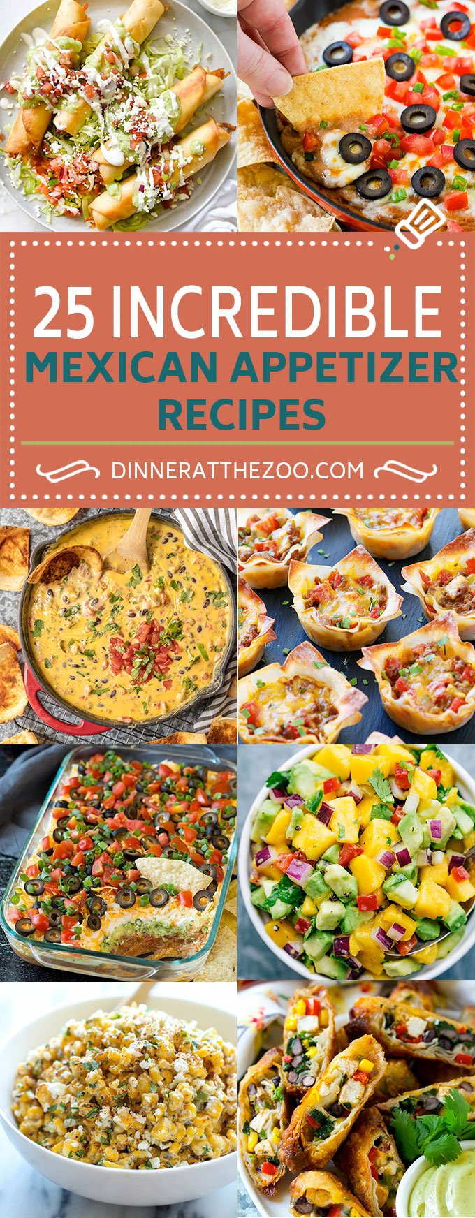 25 Mexican Appetizer Recipes #mexicanfood #appetizer #dinneratthezoo