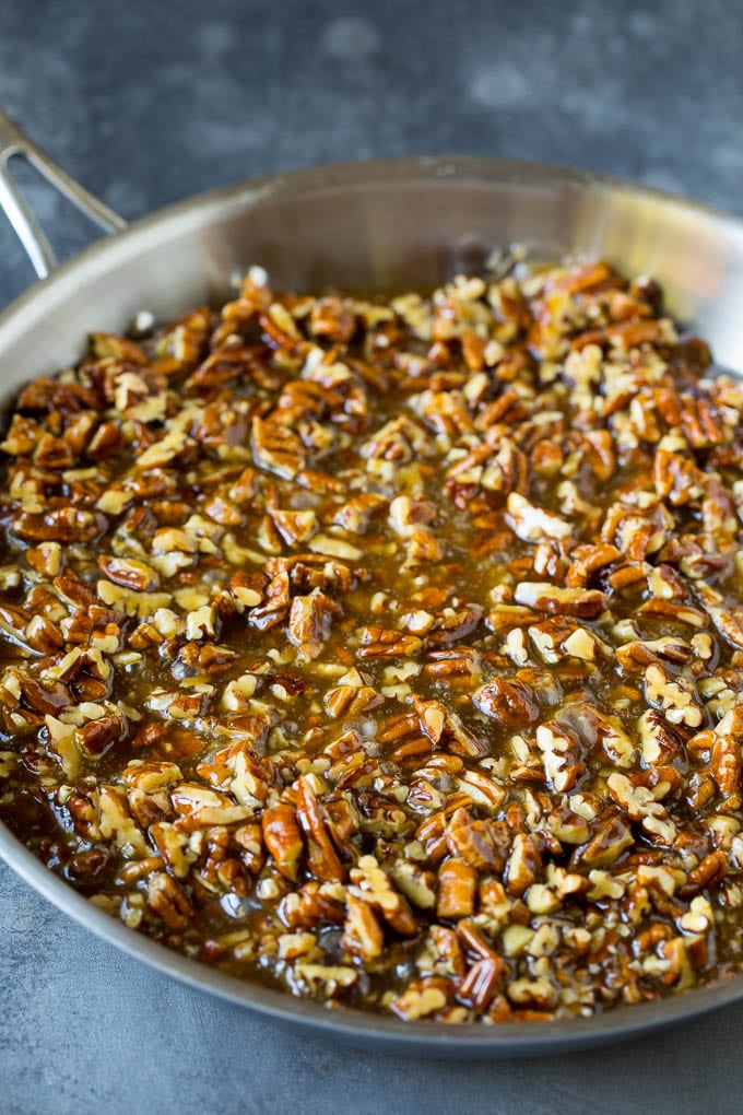 Pecan pie filling in a pan.