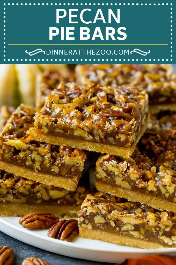 Pecan Pie Bars Recipe #pecans #pie #fall #pecanpie #dessert #thanksgiving #dinneratthezoo