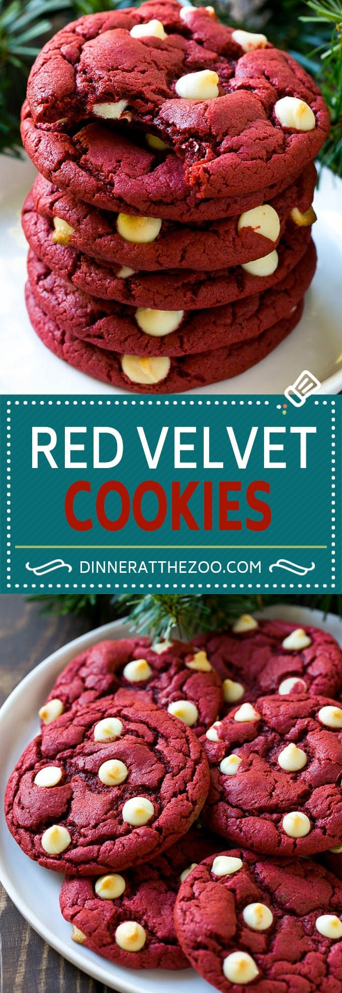 Red Velvet Cookies Recipe | Red Velvet Cookies with White Chocolate Chips | Red Velvet Cake Mix Cookies #redvelvet #cookies #whitechocolate #christmas #dinneratthezoo