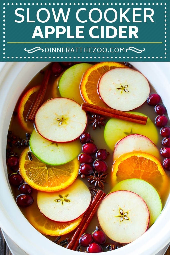 Slow Cooker Apple Cider | Mulled Apple Cider | Crockpot Apple Cider #cider #apple #applecider #drink #crockpot #slowcooker #dinneratthezoo