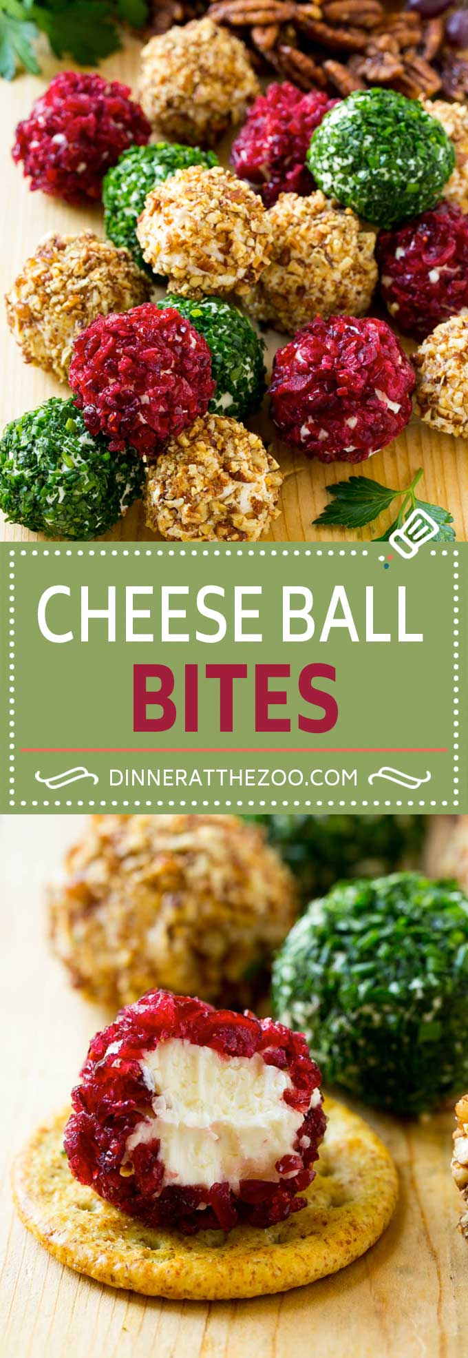 Cheese Ball Bites Recipe | Holiday Cheese Ball Recipe | Pecan Cheese Ball | Cranberry Cheese Ball | Mini Cheese Balls #cheeseball #cheese #appetizer #dinneratthezoo