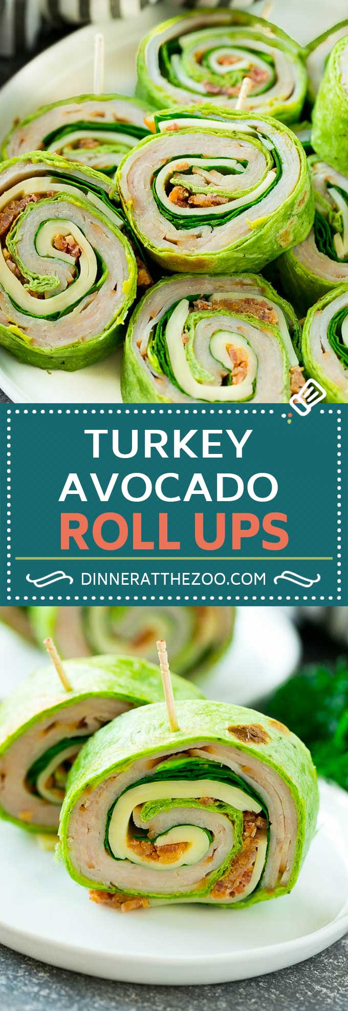 Turkey Roll Ups Recipe | Turkey Pinwheel Sandwiches | Turkey Roller Sandwiches #turkey #avocado #sandwich #lunch #appetizer #dinneratthezoo