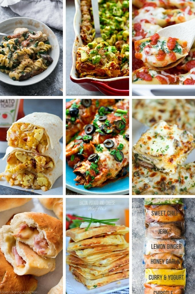 Freezer meal recipes like baked pasta, lasagna, stuffed shells, breakfast options and more.