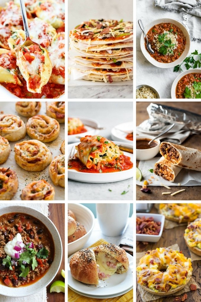 Freezer meal recipes including stuffed pepper soup, frozen pizza and lasagna rolls.