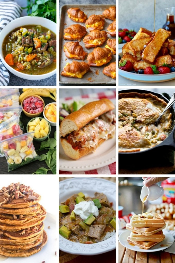 Freezer meal recipes including beef and barley soup, breakfast sandwiches, chili and toaster waffles.