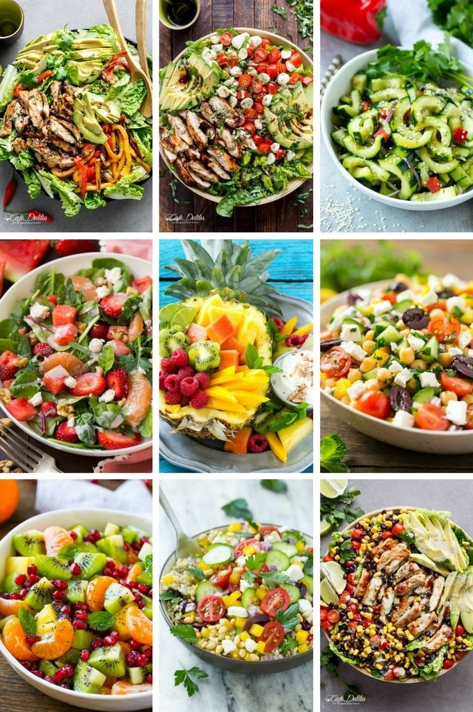 Healthy salad recipes including chicken salads, cucumber salads and quinoa salads.