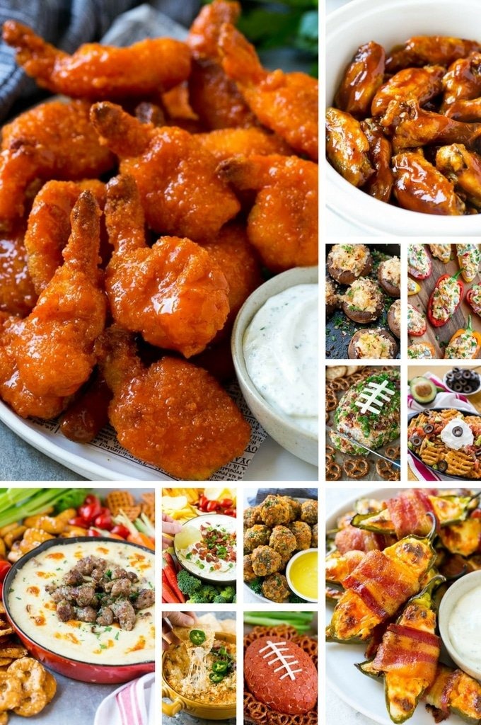 A Compilation Of Super Bowl Etizer Recipes Including Nachos Shrimp Stuffed Mushrooms And Cheese