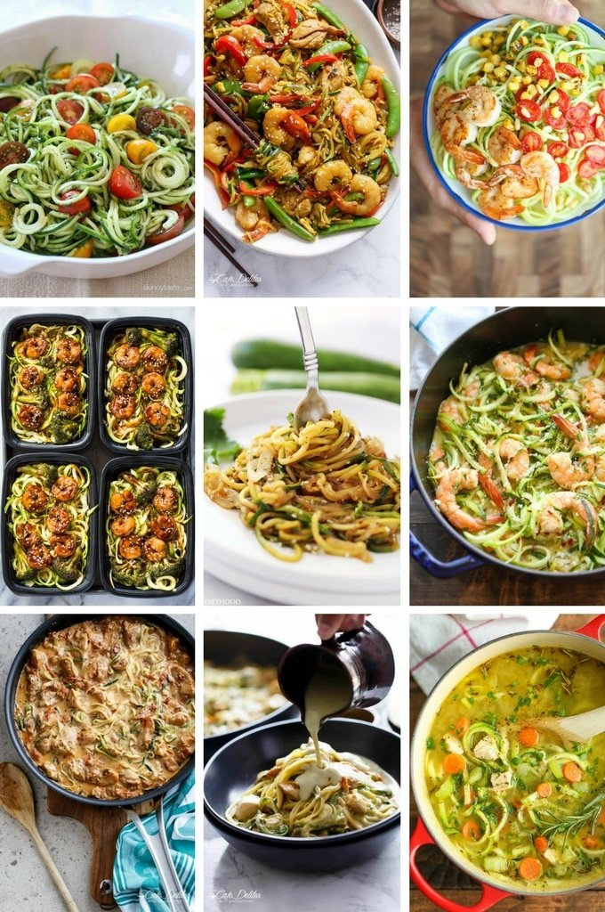 Zucchini Noodle recipes that include shrimp, chicken dishes, stir fries and more.