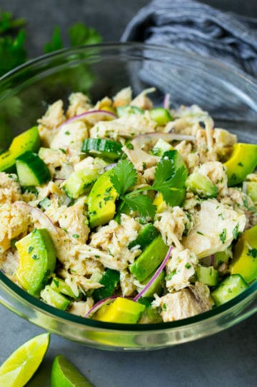 Avocado tuna salad with cucumber, red onion and lime dressing.