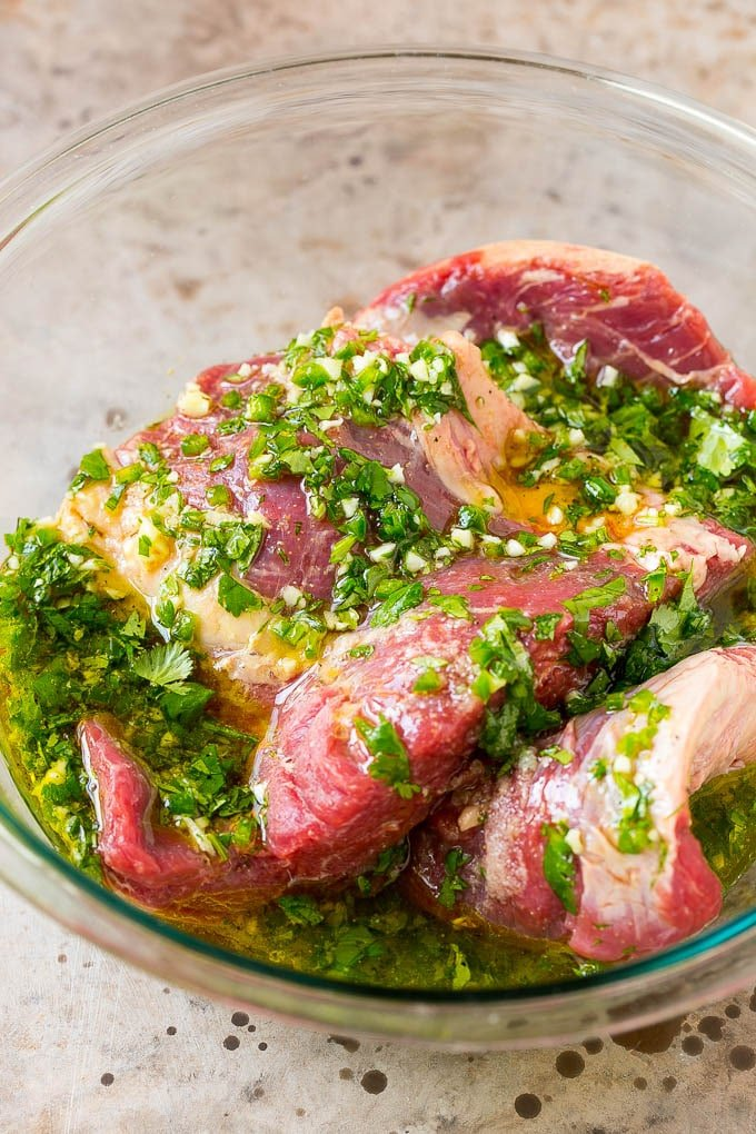 Marinated flank steak with citrus, cilantro, jalapeno and olive oil.