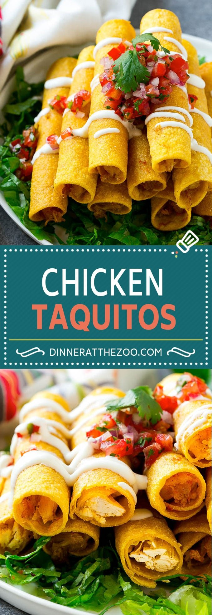 Chicken Taquitos Recipe | Baked Chicken Taquitos | Fried Chicken Taquitos | Mexican Appetizer | Chicken Tortillas #taquitos #chicken #appetizer #tortillas #mexicanfood #dinneratthezoo