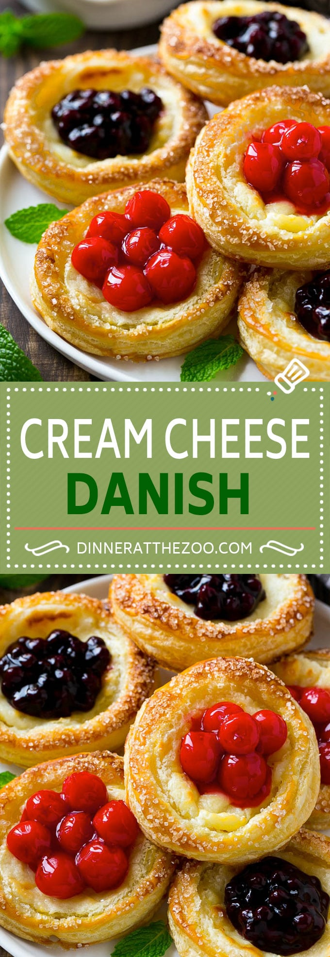 Cream Cheese Danish Recipe | Cream Cheese and Fruit Danish | Cream Cheese and Cherry Danish | Breakfast Pastries #danish #pastry #breakfast #brunch #dinneratthezoo