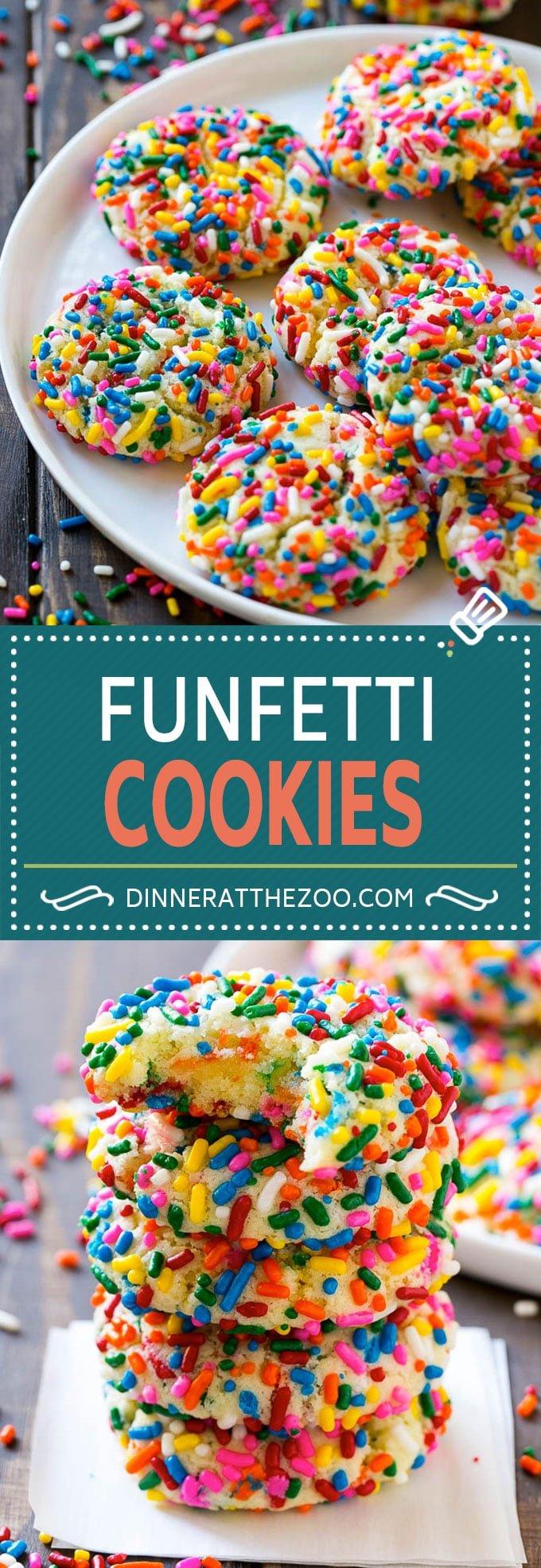 Funfetti Cookies Recipe | Funfetti Cake Mix Cookies | Sprinkle Cookies | Cake Mix Cookies #cookies #funfetti #sprinkles #dessert #dinneratthezoo