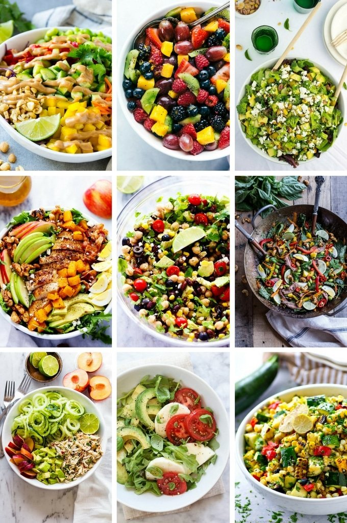 Healthy salad recipes like cobb salad, crab salad and mexican salad.