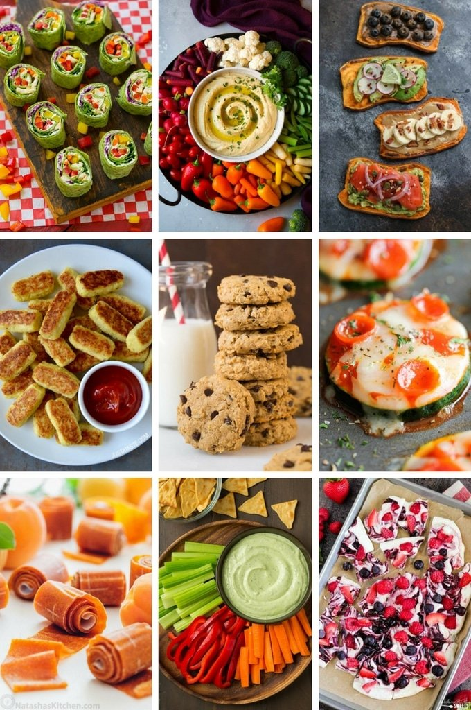 Healthy snack recipes such as hummus, pizza bites and frozen yogurt bark.