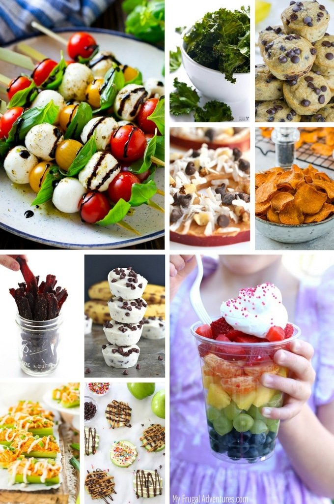 A collage of healthy snack ideas such as beef jerky, stuffed celery and kale chips.