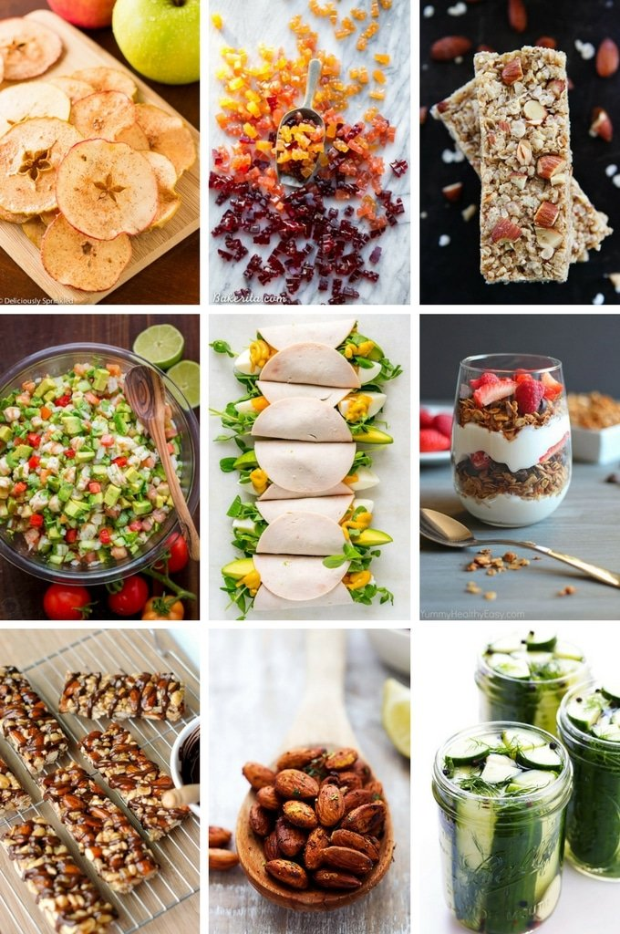 Healthy snack ideas like paleo gumies, granola parfaits and spiced almonds.