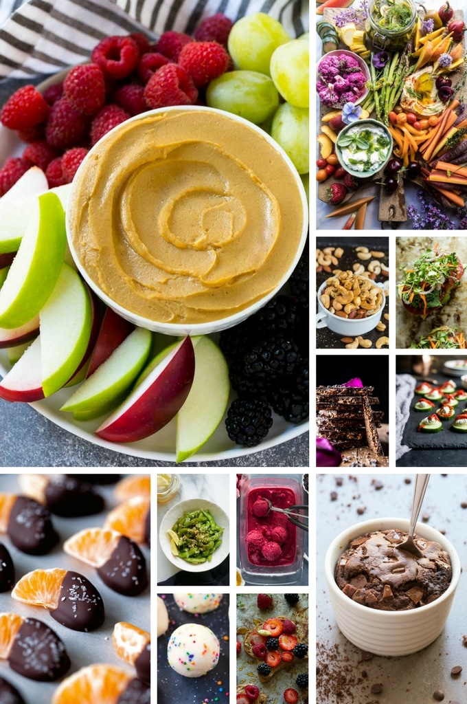 Healthy snacks collage with photos of quinoa bark, edamame, frozen yogurt and veggie toast.