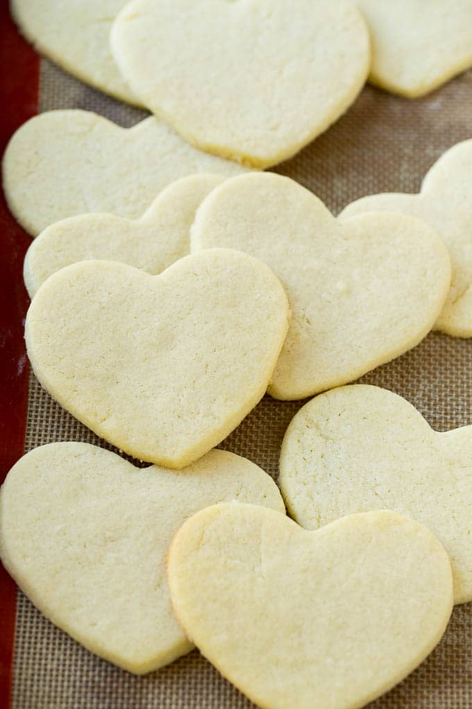 Baked heart shaped sugar cookies.