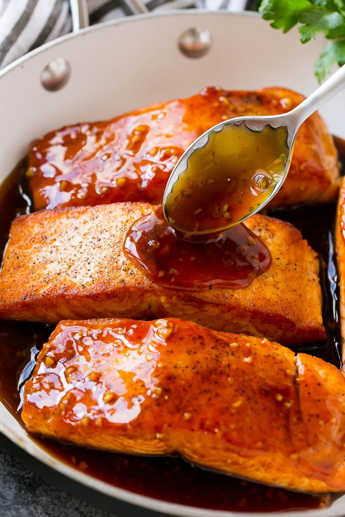 Salmon fillets drizzled with a sweet and savory honey garlic sauce.