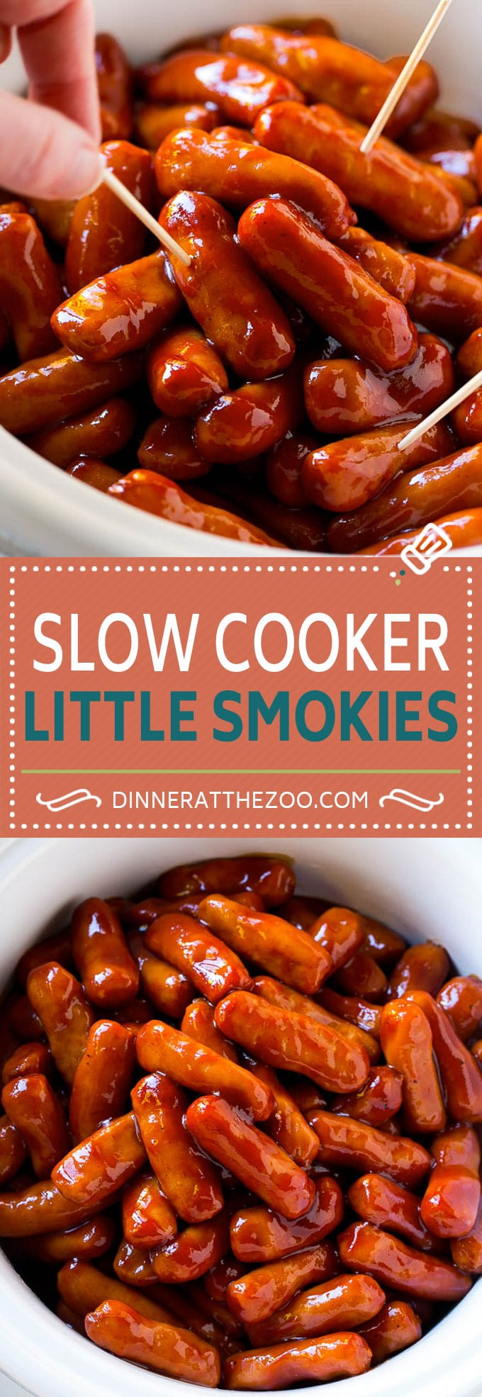 These slow cooker little smokies are coated in a sweet and savory glaze and slow cooked to perfection. Perfect for game day!