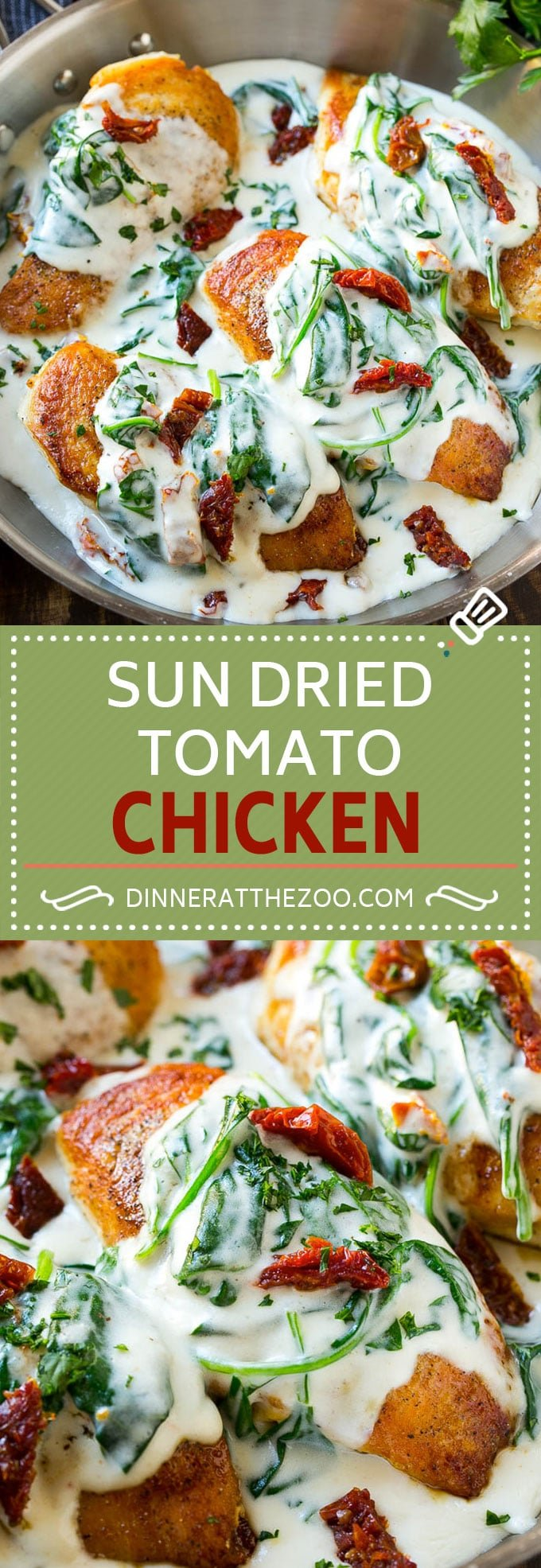 Sun Dried Tomato Chicken Recipe | Chicken in Sun Dried Tomato Sauce | Chicken with Cream Sauce | Chicken with Spinach | Italian Chicken #chicken #lowcarb #tomatoes #spinach #italianfood #dinner #dinneratthezoo