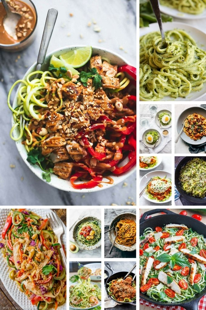 An assortment of zuchini noodle recipes including Thai style recipes, Italian recipes and recipes that contain shrimp.
