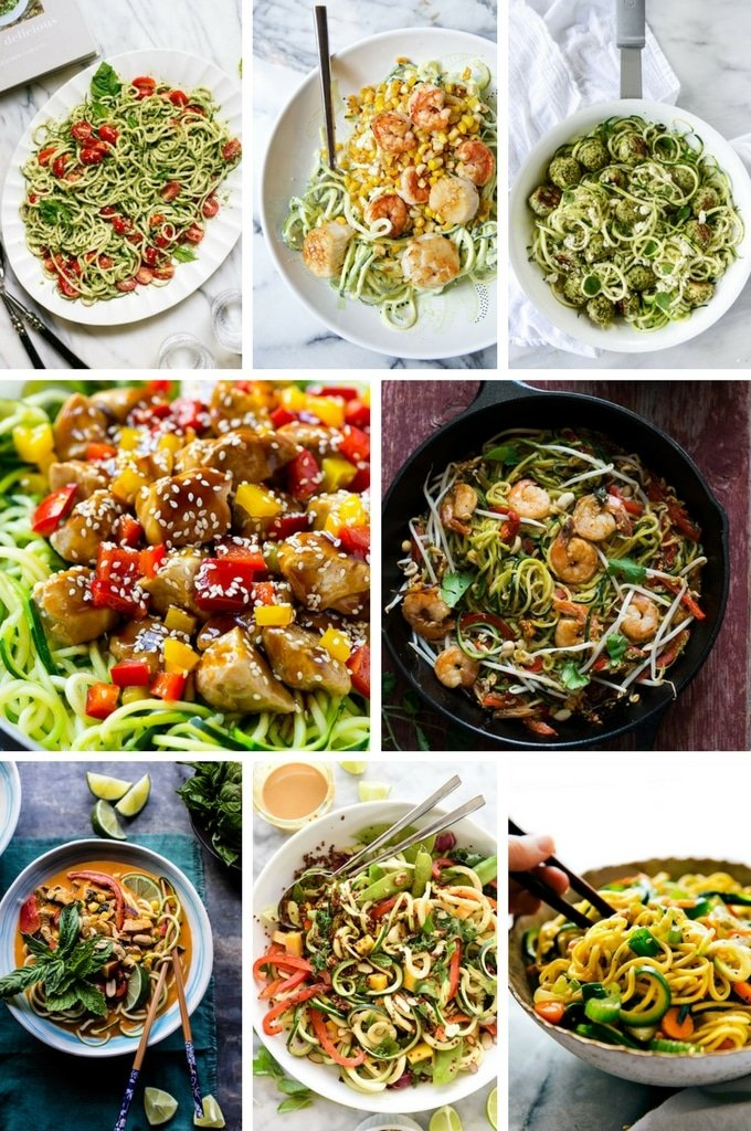 A variety of zucchini noodle recipes with shrimp, scallops, chicken. There are also salads and Asian recipes.