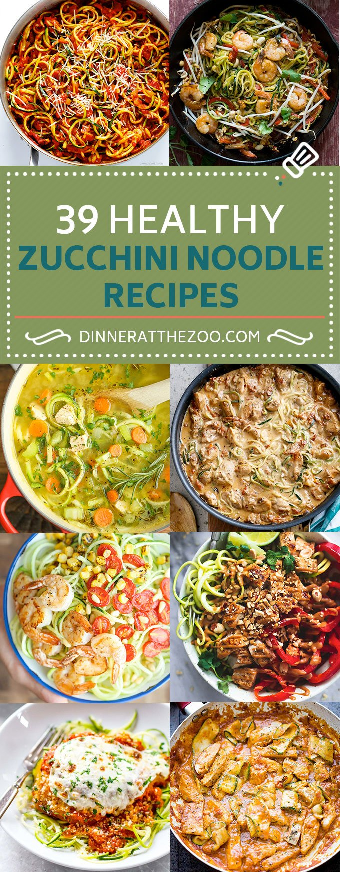 39 Healthy Zucchini Noodle Recipes | Zoodle Recipes | Low Carb Recipes #zoodles #zucchininoodles #lowcarb #keto #dinner #dinneratthezoo