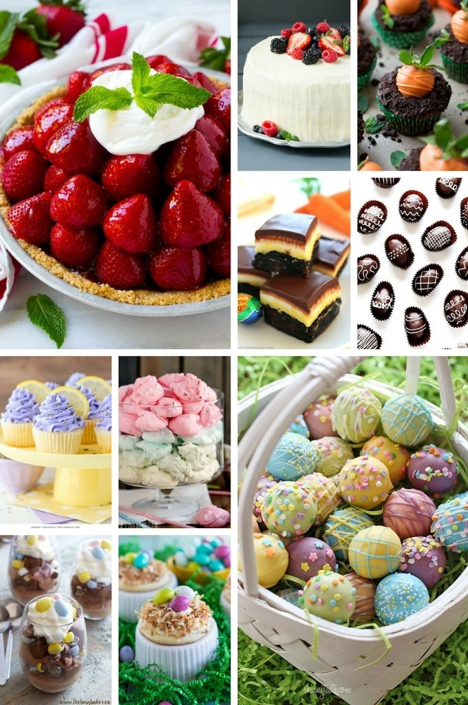 Easter desserts such as cakes, pies, truffles and parfaits.