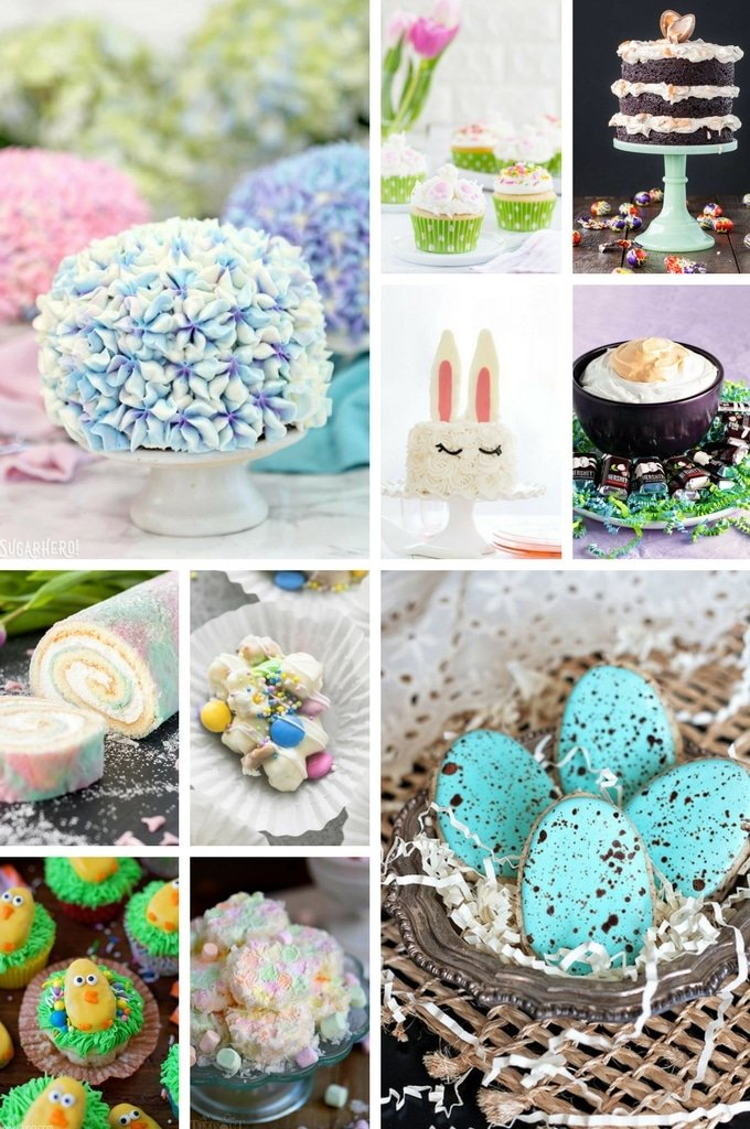 A selection of Easter dessert recipes including cakes, candy and cookies.