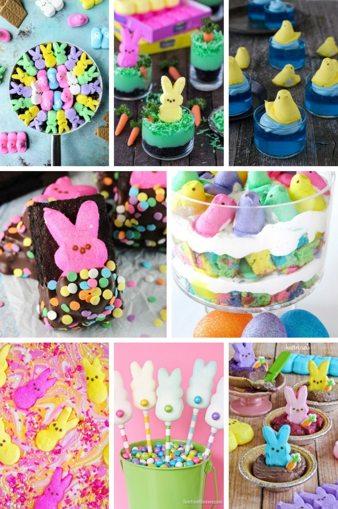 Peeps recipes including pies, chocolate bark, trifles and smores.