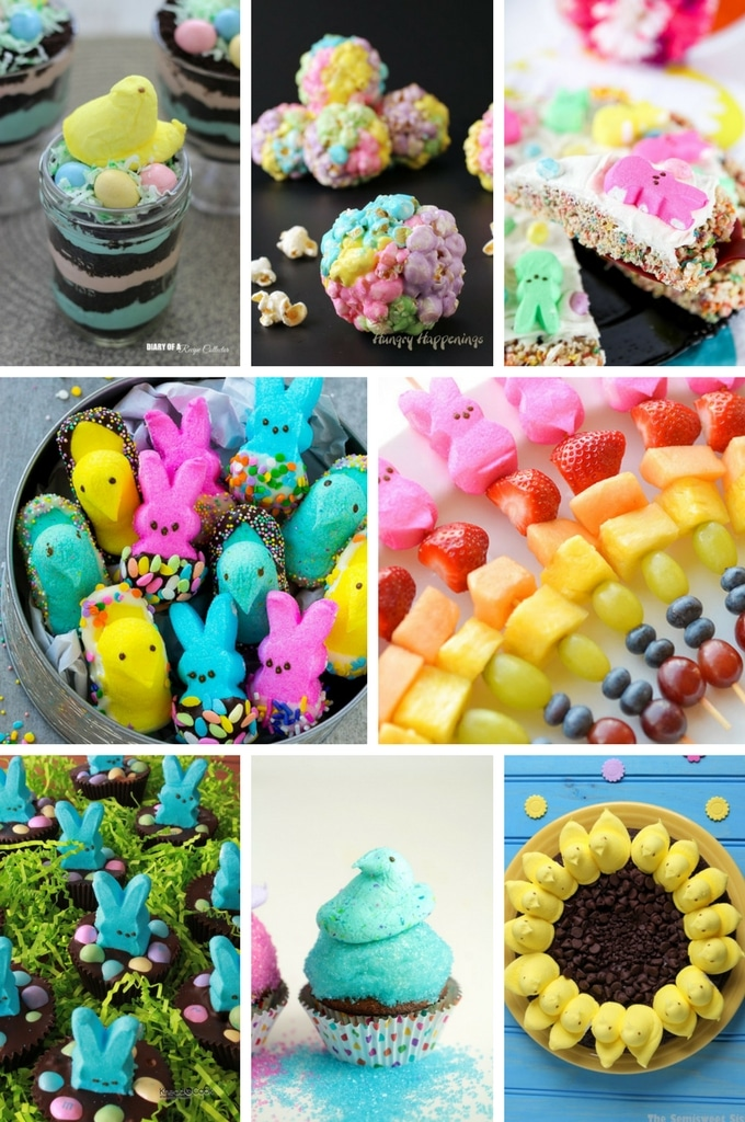 Peeps recipes for Easter such as popcorn balls, cupcakes and brownies.