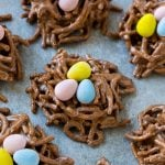 Birds nest cookies are a no bake dessert made with chocolate and chow mein noodles.