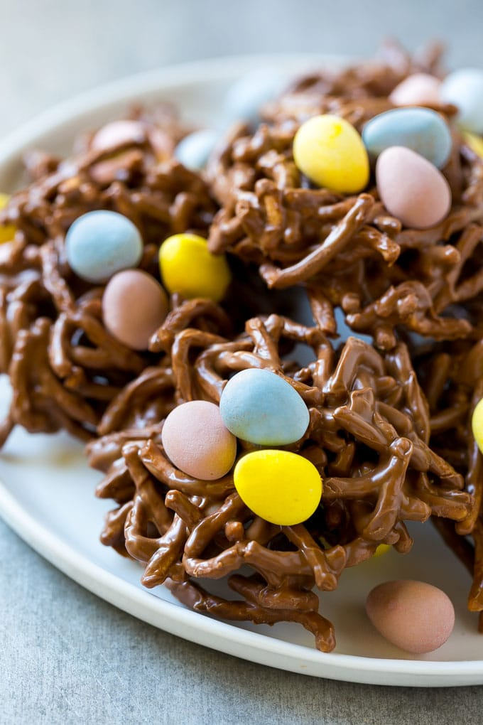 A plate of birds nest cookies makes a festive Easter dessert.