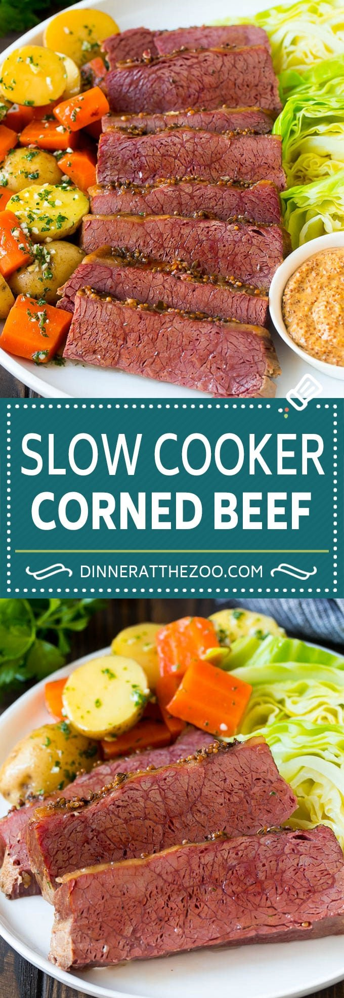 Slow Cooker Corned Beef Recipe | Crock Pot Corned Beef | Corned Beef and Cabbage #beef #cornedbeef #cabbage #potatoes #carrots #stpatricksday #irish #dinneratthezoo