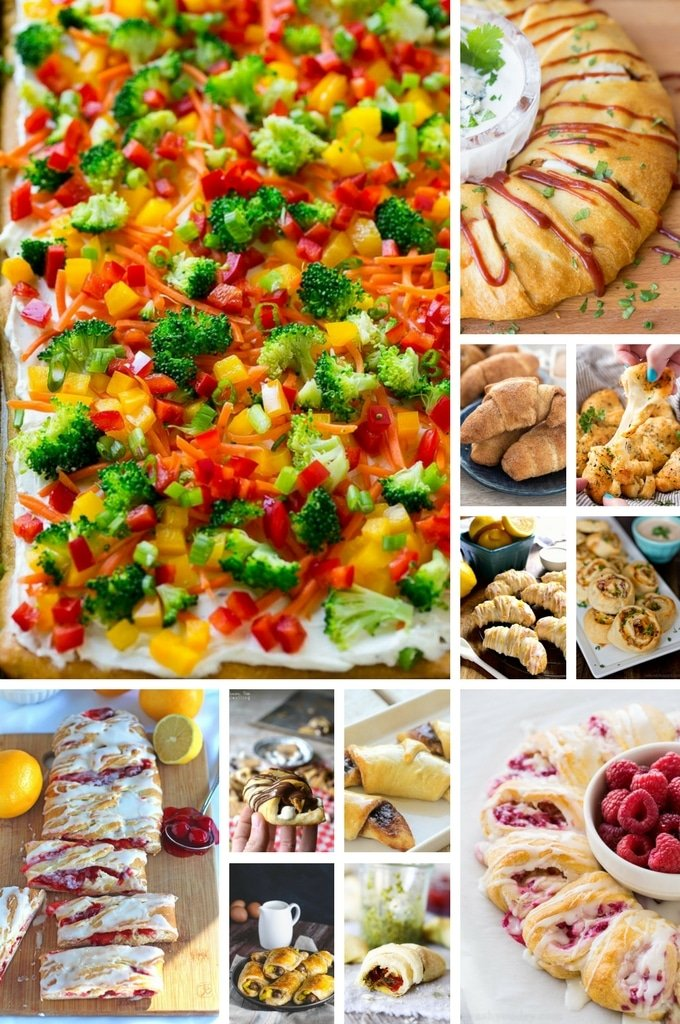 Crescent roll recipes such as appetizers, breakfast items and desserts.